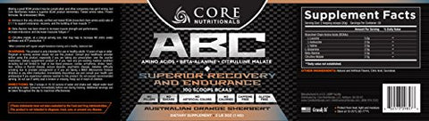 Core Nutritionals ABC Pre-Workout Supplement, Australian Orange Sherbert 2 Pound 3 Ounce
