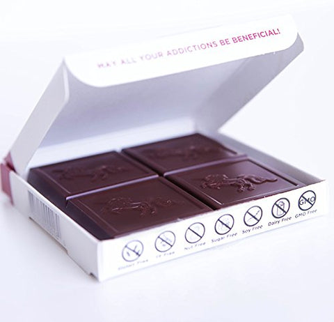 Addictive Wellness Sugar-Free Raw RECHARGE Chocolate 12 PACK Vegan & Paleo - Purely Superfoods and Superherbs