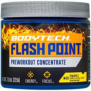 BodyTech Flash Point Pre Workout Concentrate for Energy, Focus Stamina, Pineapple (201 Grams Powder)