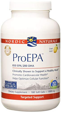 Nordic Naturals ProEPA - Fish Oil, 850 mg EPA, 200 mg DHA, Targeted Support for Cardiovascular Health, a Healthy Mood, and Optimal Cellular Function*, Lemon Flavor, 180 Soft Gels
