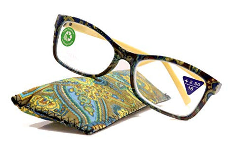 Frida, Premium Reading Glasses, High End Readers +1.25 +1.5 +2.75 +3 Magnifying, Square Optical Frame. Yellow Paisley. NY Fifth Avenue