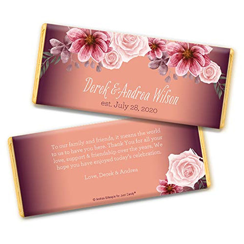 Rustic Wedding Favors for Guests Personalized Hershey's Chocolate Bars (36 Pack) - Bridal Shower Favors for Guests, Wedding Candy