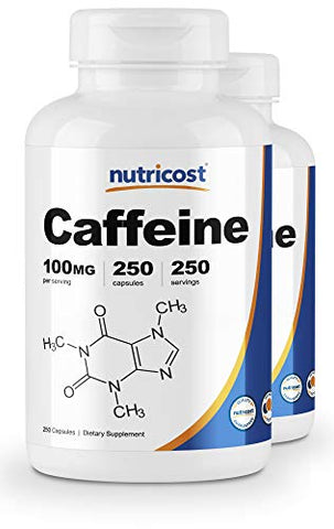 Nutricost Caffeine Pills 100mg Per Serving, 250 Capsules (2 Bottles)