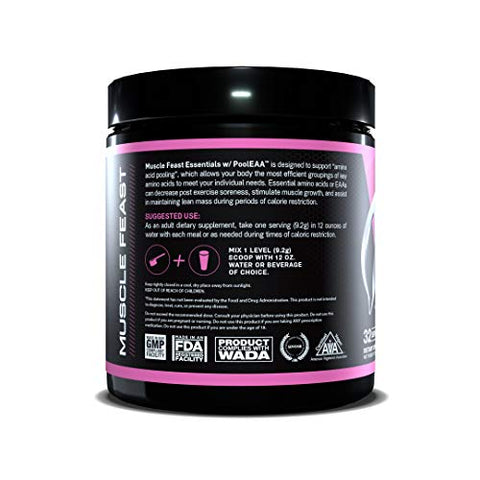 MUSCLE FEAST Vegan Essential Amino Acid Powder, Keto Friendly, Sugar Free, Post Workout Recovery and Intra-Training Drink (300 Gram, Watermelon)