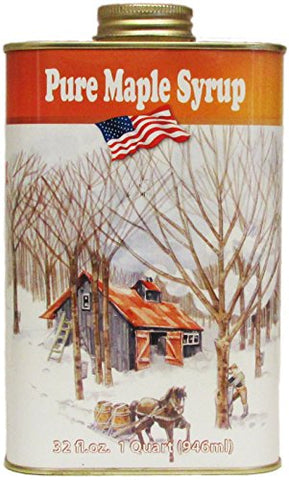 Ferguson Farms 100% Pure Vermont Maple Syrup, Grade A Dark, Classic Tin Quart (32oz)