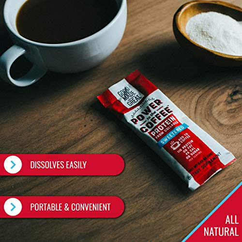 Collagen Protein Coffee Mix-in (12g) Grass-Fed Pure Protein - Keto & Paleo Friendly - NO Dairy, Whey, or Soy - Naturally Sweetened- Sugar-Free - 6 Pack
