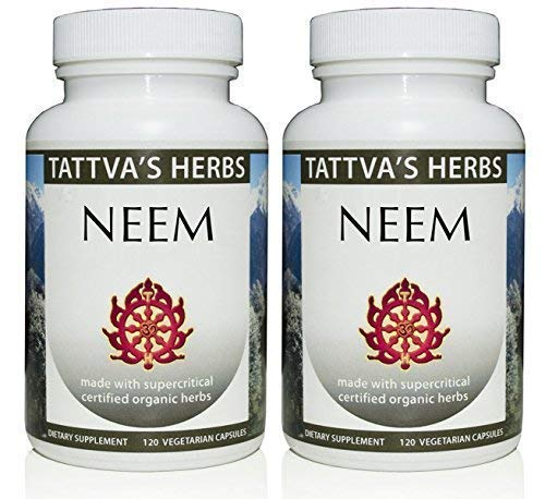 Organic Neem Leaf Holistic Extract - Internal Detox, Reduces Acne, Supports Healthy Skin 500 mg. 240 Vcaps Herbal Supplement 2 Month Supply - from Tattva's Herbs