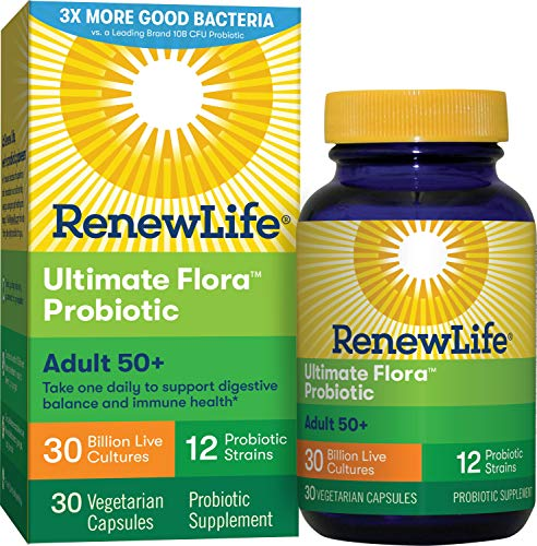 Renew Life Adult Probiotic   Ultimate Flora Adult 50+ Probiotic Supplement   Shelf Stable, Gluten, D