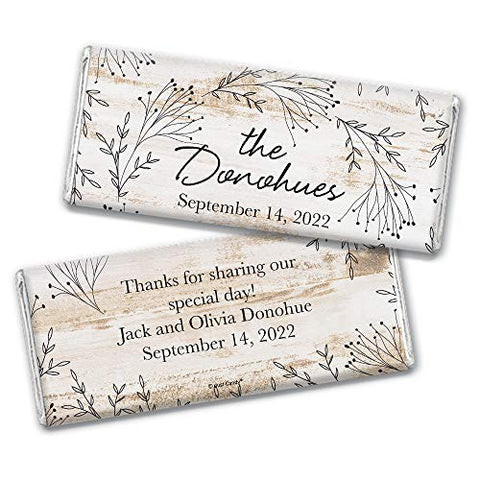 Rustic Wedding Favors for Guests Personalized Hershey's Chocolate Bars (36 Pack) - Bridal Shower Favors for Guests, Rustic Wedding Candy