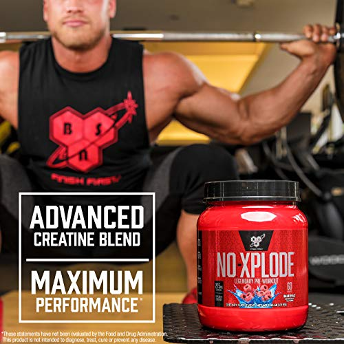 BSN N.O.-XPLODE Pre-Workout Supplement with Creatine, Beta-Alanine, and Energy, Flavor: Blue Raz, 60 Servings