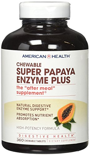 American Health Super Papaya Enzyme Plus Chewable Tablets, Natural Papaya Flavor   Promotes Digestio