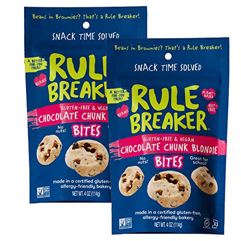 Rule Breaker Snacks Bites Chocolate Chunk Blondie - Vegan, Gluten Free, Nut Free, Allergy Friendly, Kosher and School Safe (2 Pouches)