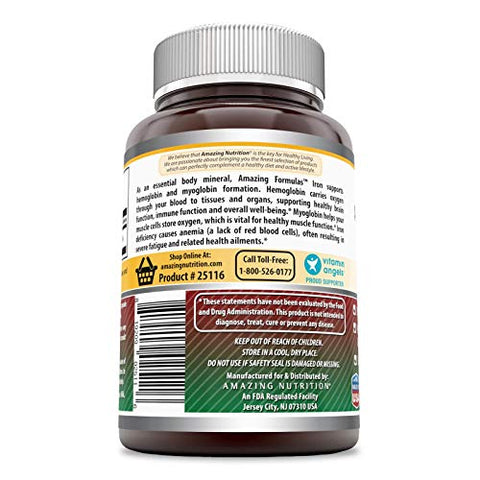 Amazing Formulas Iron as Iron Bisglycinate (Non-Gmo,Gluten Free) 25 Mg Veggie Capsules-Supports Oxygen Supply to Tissues & Organs-Helps in The Formation of Hemoglobin & Myoglobin.(180 Veggie Capsules)