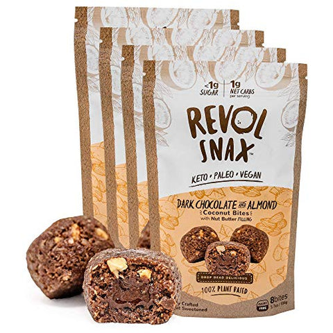 Revol Snax Coconut Bites, Keto Snacks - Low Carb High Fat, 1g Net Carb, Clean Ingredients - Fat Bomb, Diet Friendly Dessert (4 packs of 8-bites each 32 total) (Dark Chocolate Almond Butter)