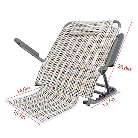 MOCOHANA Portable Bed Backrest Adjustable Sit-up Back Rest Chair for Neck Lumbar Back Support with Head Cushion and Armrest, Stainless Steel(Plaid Cloth)