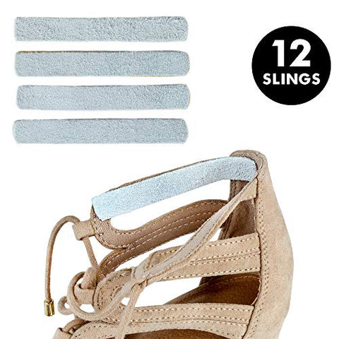Heel Lovers Suede Leather Adhesive Slings (12 Slings)- Strap Cushion Grips for High Heels, Wedges, and Ankle Strap Shoes