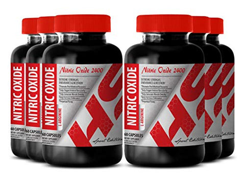 Nitric Oxide Powder Bulk - Nitric Oxide L-ARGININE 2400MG - with Fatigue (6 Bottles)