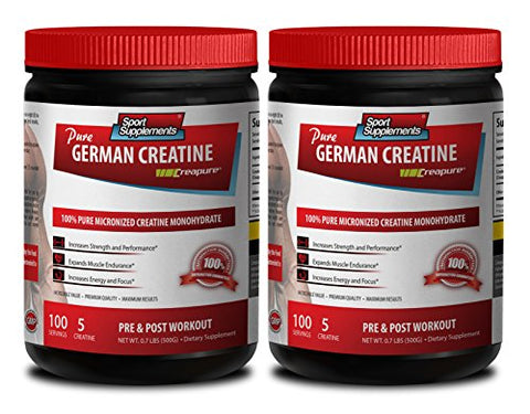 Lean Muscle Recovery - German CREATINE Powder - MICRONIZED CREATINE MONOHYDRATE CREAPURE - 500G - 100 Servings - Muscle Building Supplements - 2 Cans