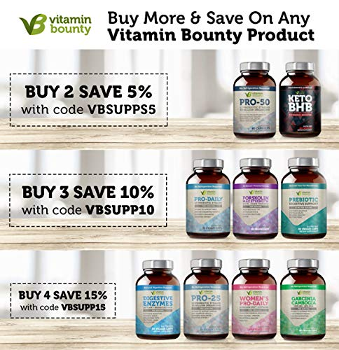 Vitamin Bounty Pro 25 Probiotic with Prebiotics - 13 Strains, 25 Billion CFU, for Gut and Digestive Health with Delayed Release EmbocapsTM & Fermented Greens