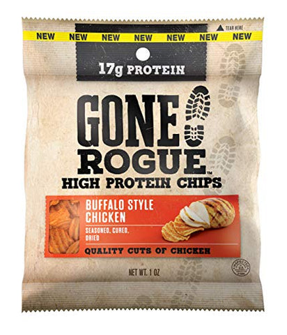Gone Rogue High Protein Buffalo Style Chicken Chips, Low Carb, Gluten Free, Keto Friendly Snacks, 4 pack