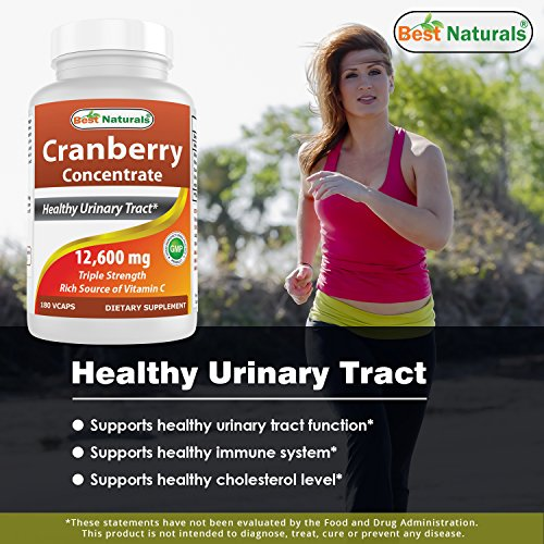 Best Naturals Cranberry Pills 3 X Concentrate Veggie Capsule, 12600 Mg, 180 Count (817716010755)