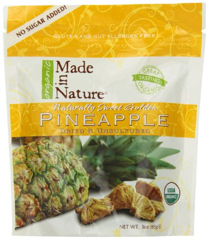 Made In Nature Organic Pineapple, Dried and Unsulfured, 3 Ounce Bags (Pack of 12)