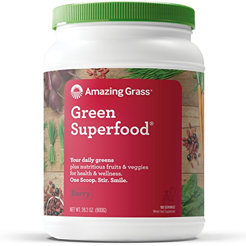 Amazing Grass Green Superfood: Organic Wheat Grass and 7 Super Greens Powder, 2 servings of Fruits & Veggies per scoop, Berry Flavor, 100 Servings