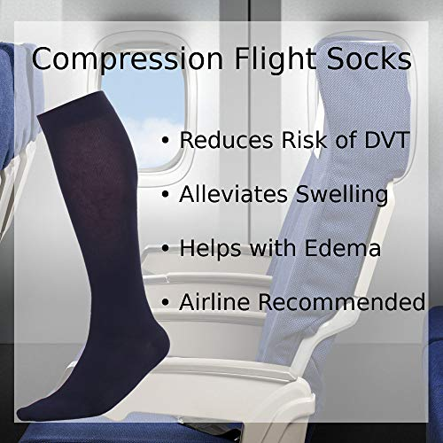 Made In The Usa â?? Microfiber Compression Travel Socks 15 20 Mm Hg (Navy, Medium)