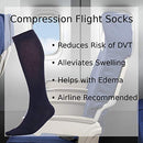Image of Made In The Usa â?? Microfiber Compression Travel Socks 15 20 Mm Hg (Navy, Medium)