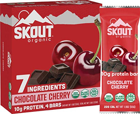 Skout Organic Chocolate Cherry Organic Protein Bars (4 Pack) | 10g Plant-Based Protein per Bar | Paleo Snacks & Vegan Protein Bars | Gluten, Dairy, Grain, Peanut, Tree Nut & Soy Free