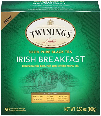 Twinings of London Irish Breakfast Black Tea Bags, 50 Count (Pack of 6)