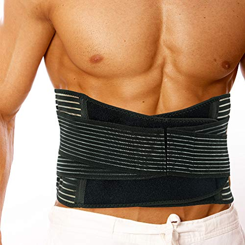 Luwint Lower Back Brace Support for Men Women - Breathable Lumbar Waist Belt Support with Dual Adjustable Straps for Sport, Back Pain Relief, Sciatic Pain, Postnatal Recovery