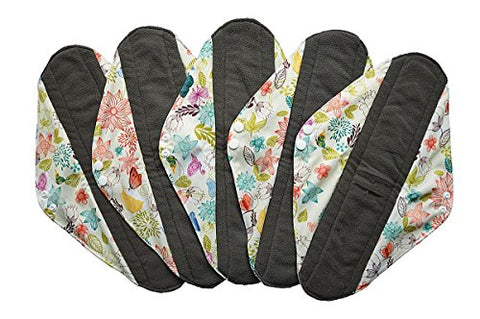 5 Pieces Charcoal Bamboo Mama Cloth/ Menstrual Pads/ Reusable Sanitary Pads (Overnight (14 inch), Bloom)