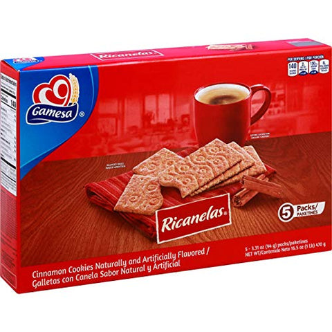 Gamesa Mexican Ricanelas Cinnamon Cookies - 1 Box (5 Packs)