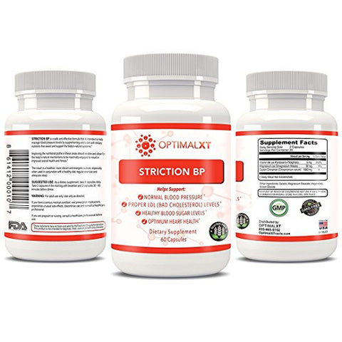 Healthy Habits OptimalXT StrictionBP 60ct - 100% All Natural & Best Proprietary Blend Hypertension Supplements w/ Ceylon Cinnamon & Vit B6 - Promotes Normal Blood Pressure & Healthy Cholesterol Level