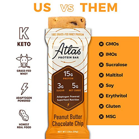 Atlas Protein Bar - Keto Friendly, Classics Variety Pack (9-Pack, 3 of Each Flavor) ?? Grass Fed Whey, Low Sugar, Clean Ingredients, Gluten Free, Soy Free, and GMO Free