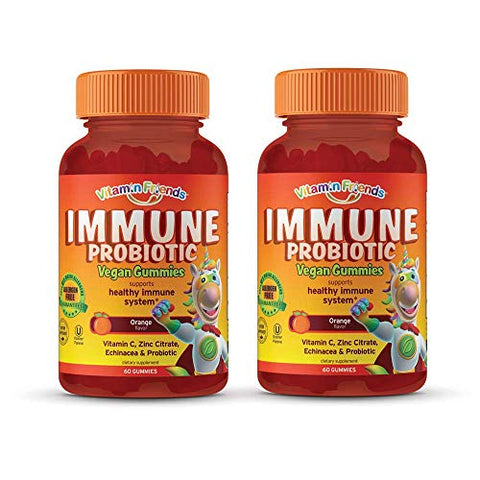Vitamin Friends - Probiotics for Kids and Adults, Children's Multivitamin Immune Support Gummies with Vitamin C, Zinc Citrate & Echinacea - Probiotic Supplement for Healthy Immune System