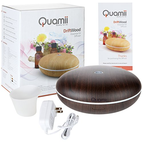 Quamii Aromatherapy Essential Oil Diffuser - 400ml Ultrasonic Cool Mist Aroma Humidifier with 7 Color Changing LED Lights, Adjustable Mist Mode and Waterless Auto Shut-Off (Dark Bamboo Woodgrain)