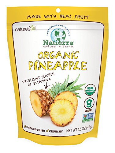 Natierra Nature's All Foods Organic Freeze Dried Pineapples | Non Gmo & Vegan | 1.5 Ounce