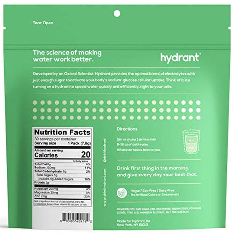Hydrant Lime Rapid Hydration Mix Version 2, Electrolyte Powder, Dehydration Recovery Drink Blend, Simple Ingredients, Vegan, 30pk