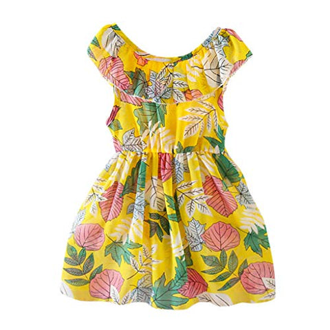 heavKin-Clothes 1-7T Toddler Baby Girls Summer Dress O-Neck Sleeveless Floral/Leaf Printed Casual Skirt Outfits