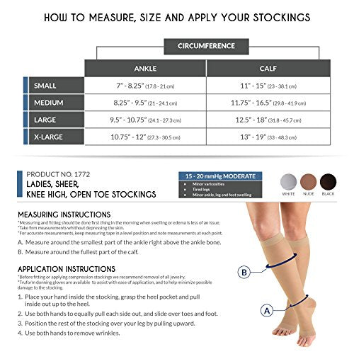 Truform Sheer Compression Stockings, 15-20 mmHg, Women's Knee High Length, Open Toe, 20 Denier, Nude, X-Large