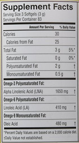 Pure Flax Oil, 250 Count softgels Bottle