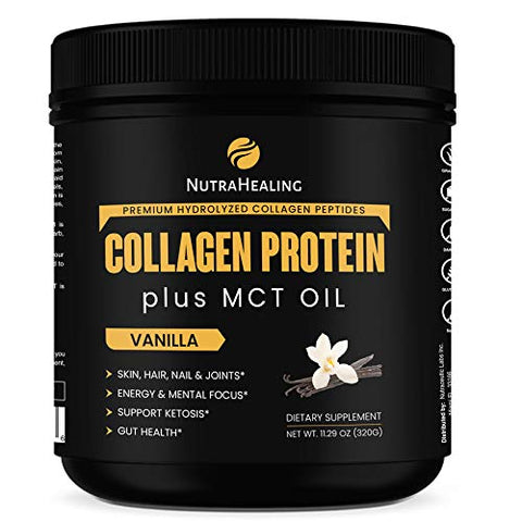 Recovery Collagen Protein Powder + MCT Oil & Magnesium | Essentials BCAA | Sugar Free, Gluten Free, Dairy Free & Non-GMO | Ideal for Low Carb, Paleo & Keto Diet | Vanilla Flavor