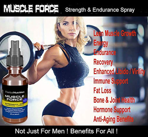 Muscle Force Strength and Endurance Spray 4 Bottle Pack 200mg Proprietary Growth Formula Improves Muscle Strength and Recovery Time 2oz. Spray Bottles 120 Day Supply Free Shipping