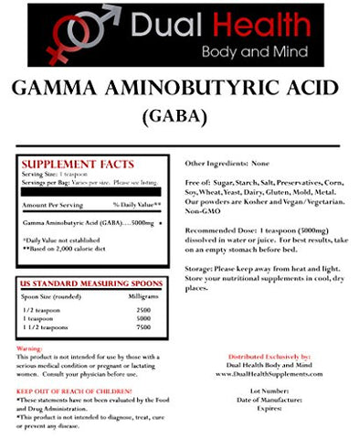 Pure GABA (8 oz) Gamma Aminobutyric Acid Powder Bulk Supplements