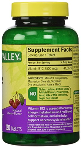 ONLY 1 IN PACK Spring Valley Fast-Dissolve Vitamin B12 2500 Mcg, Metabolism Support, 120 Tablets cherry flavor