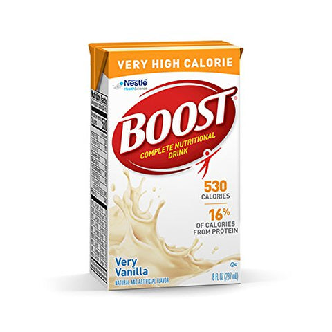 Boost Nutritional Drinks Very High Calorie Complete Nutritional Drink, Very Vanilla, 8 Ounce Box, Pa
