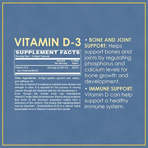 Vitamin Discount Center Vitamin D-3 5000 IU, 100 Softgels
