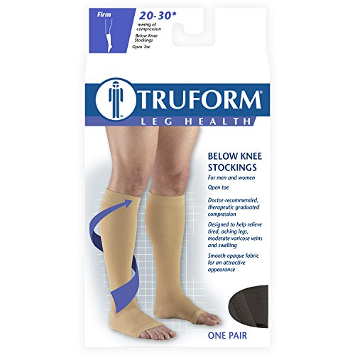 Truform 20 30 Below Knee Open Toe, Black, X Large
